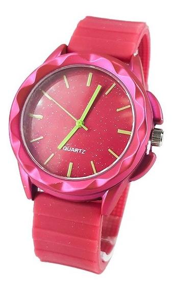Relógio Pulseira Rosa Com Verde Presente Para Namorada
