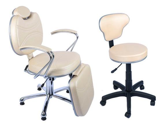 Poltrona Cadeira Reclinável Hidráulica Maquiagem Com Mocho