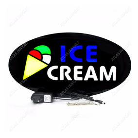 Placa De Led Letreiro Luminoso Efeito Neon Ice Cream Sorvete