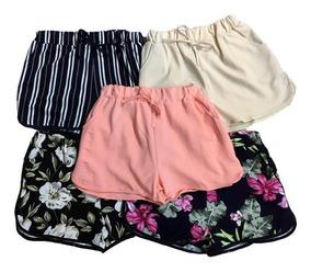 Shorts Feminino Malha Kit C/6 Pç Lisa Flor Listrada Imprtado