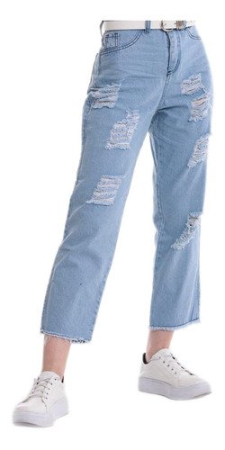 Jeans Mom Rigido Rotura Dama