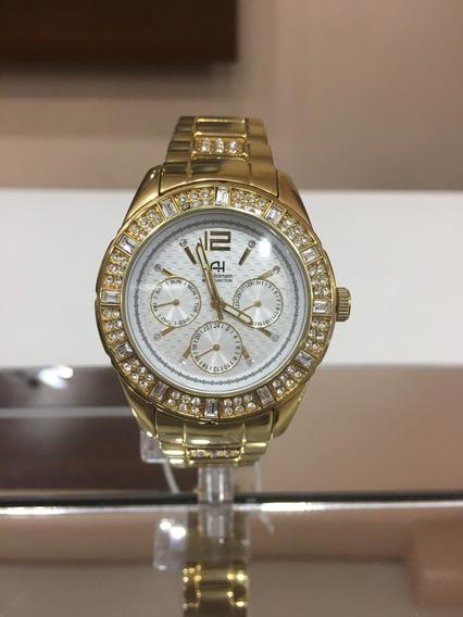 Relógio De Pulso Ana Hickmann Ah30077 Dourado Stras Feminino