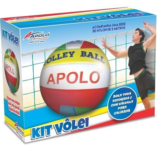 Kit Volley Ball Com Bola E Rede - Apolo