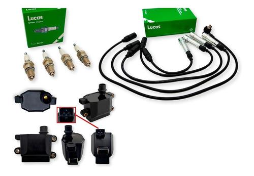 Imagen 1 de 7 de Kit Cables+bujias+bobina Volkswagen Pointer 1.6 1.8 2.0