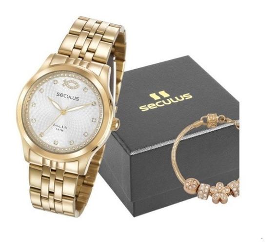 Relógio Seculus Feminino 28968lpskda1k3 Dourado + Brinde