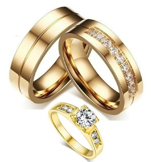 Par De Alianças Banhada Casamento Noivado 6mm+anel Solitario