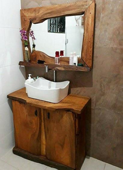 Conj. Móveis Rustico P Banheiro, Moldura, Gabinete, Bancada