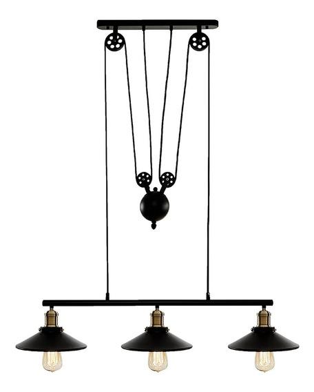 Luminária Pendente Industrial Em Metal 3 Lâmpadas
