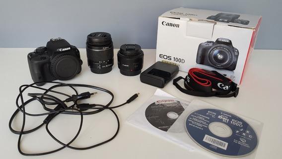 Câmera Canon Eos 100d Sl1 + Lentes 18-55mm E 50mm + Kit