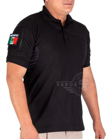 Playera Tactical Polo Negra Camisa Deportiva Combate Manga Corta Uniforme Parches Gotcha Sport Gym Army Fit Comfortable