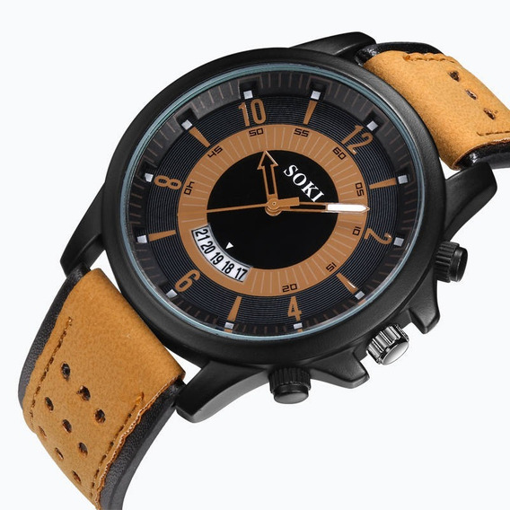Promoção Relógios Masculino Luxo Couro Original Quartzo Novo