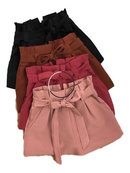 Short Curto Cintura Alta Com Cinto - Bengaline