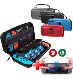 Estuche Nintendo Switch 10 Slots Funda Vidrio Templado Grips