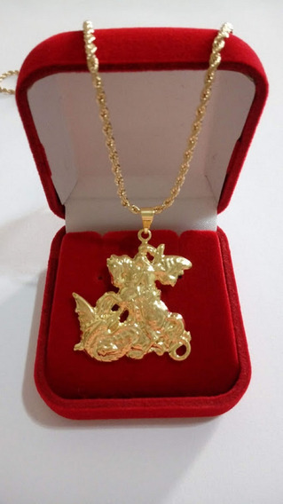 Cordão 45cm Banhado A Ouro Com Pingente De São Jorge