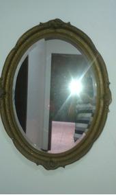 Espelho Oval De Cristal Bisotado E Moldura De Madeira Trabal