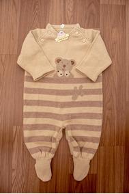 Macacão De Linha Marrom Com Urso - Saída De Maternidade