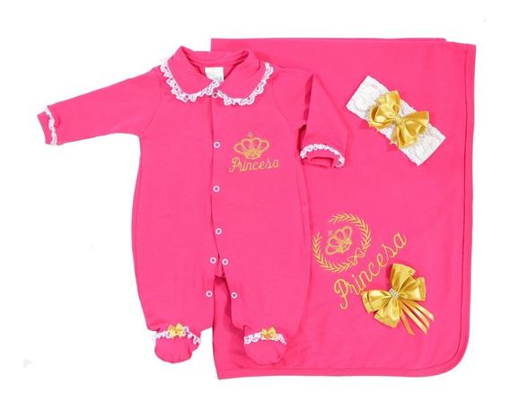 Saída De Maternidade Princesa Pink - Luxo - Bordado Dourado