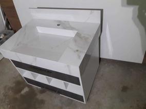 Armário Para Banheiro | Conjunto Com Lavatório Porcelanato