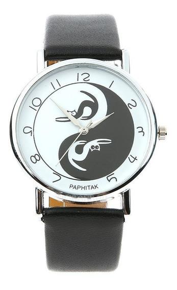 Relógio Mistico Gatos Yin Yang Couro Ecológico Tai Chi Tao