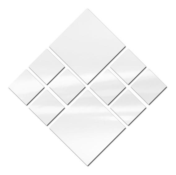 Espelho Decorativo De Vidro Kit Com 10 Quadrados