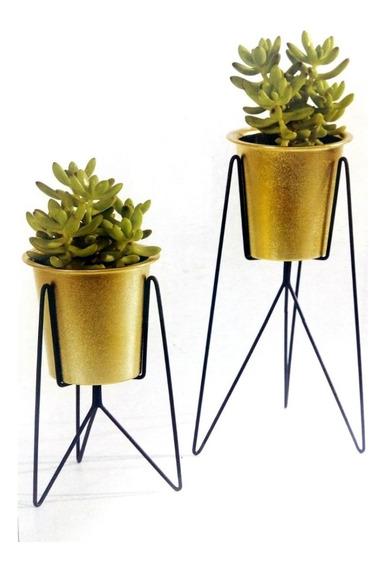Jogo De Vaso Decorativo Dourado 00967