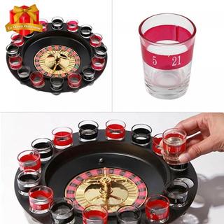 Kit Jogo Cassino Roleta Shot Com 16 Copos Bebida Drink