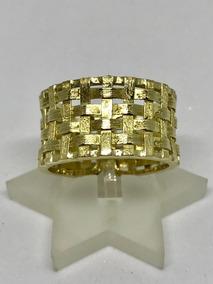 Glitter Joias - Anel Trançado Em Ouro 18k Com 6 Gramas !