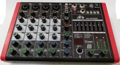 Mixer Audioking 6 Canales Dsp/bt/usb/graba En Vivo/eq 7 Band