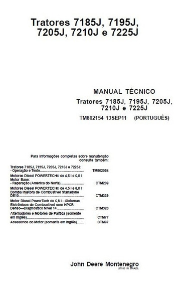 Manual De Serviço Tratores John Deere Série J