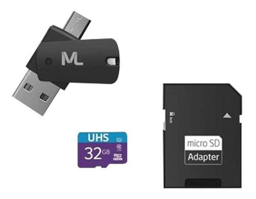 Cartão Memória 80 Mb/s Uhs1 32gb Adap Sd Usb Dual Mc151 Cl10