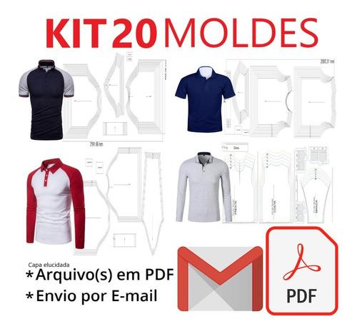 Kit 20 Moldes Modelagem Camisa Polo Do Infantil Ao Adulto
