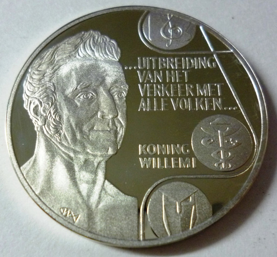Holanda Moneda De Plata 25 Ecu 1982 Koning Willemi Proof