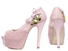 9c6c98ee1 Luxo Sapato Peep Toe Renda Feminino - Sapatos com o Melhores Preços ...