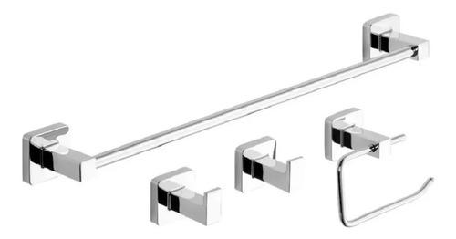 Imagen 1 de 2 de Juego Set Accesorios Baño Piazza Cube 4 Piezas Cromo 73028