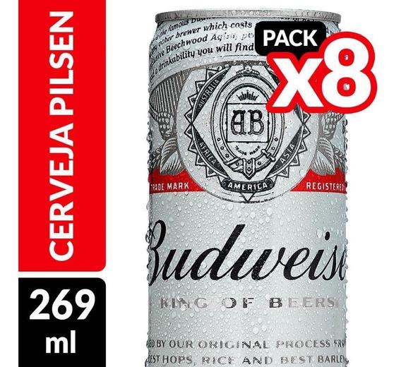 Cerveja Budweiser Lata 269ml - Pack Com 8 Unidades