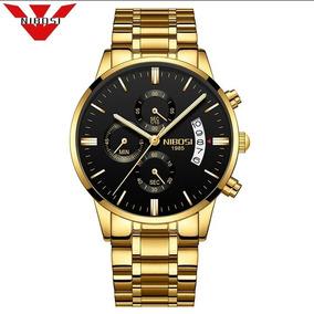 Relógio Masculino Nibosi Ni2309 Dourado Fundo Preto