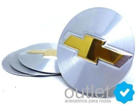 Emblema Adesivo De Calota Gm Prata C/ Dourado (65mm) Jg 4pçs