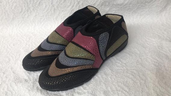 Zapatillas Elastizadas Cuero Mujer