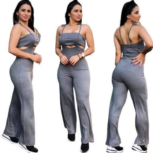 Conjunto Salopete Feminino Calça Cintura Alta + Top Cropped
