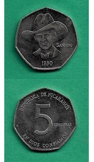 Grr-moneda De Nicaragua 5 Córdobas 1980 - Sandino