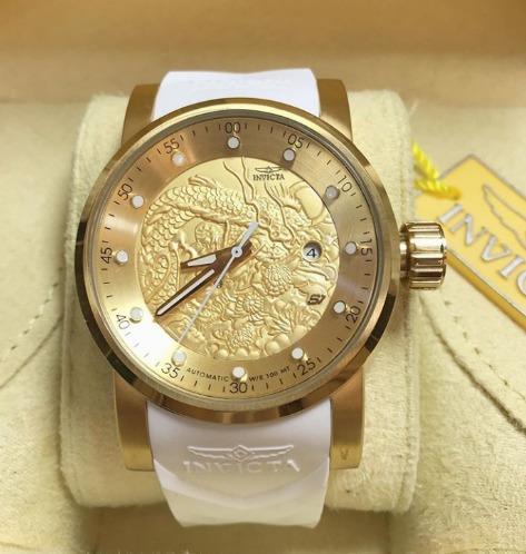 Relógio Automático Yakuza Dourado Pulseira Branca