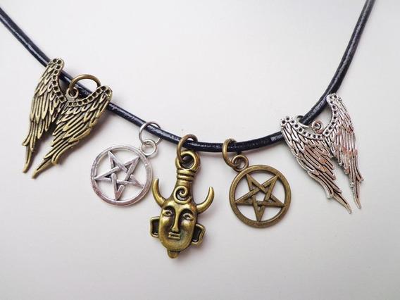 Amuletos Sobrenatural Asa Castiel,pentagrama,dean Wincherter