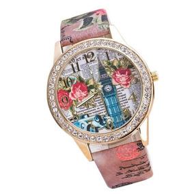 Relógio Feminino Pulseira Flores Moda Fashion Novidade Luxo