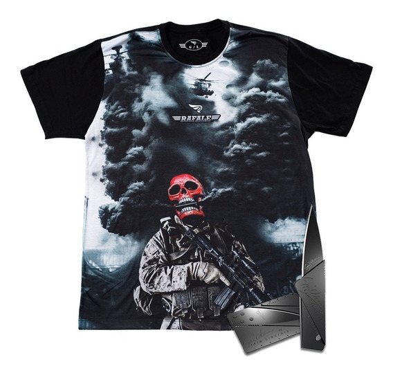 Camiseta Militar Caveira Vermelha Rafale Ghost + Canivete