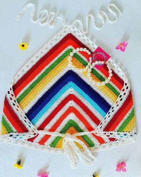 Top Cropped Crochê Frente Única