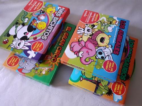 Set De 4 Valijas P Niños Cuento + Rompecabezas + Stickers X4