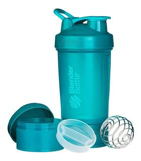 Blender Bottle 22 Oz. Color Verde Azulado Con Sistema Almacenamiento