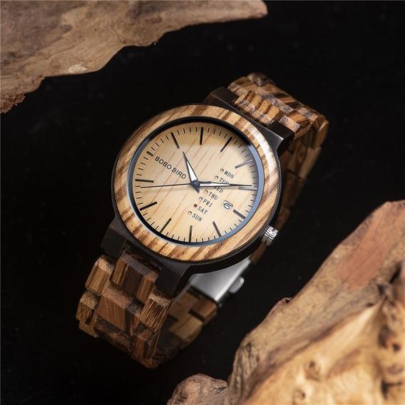 Relógio De Madeira Bambu Bobo Bird C/ Calendário Unissex