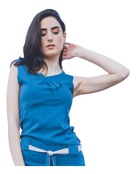 Musculosa Mujer Rayon Spandex Cruce Irregular Casual