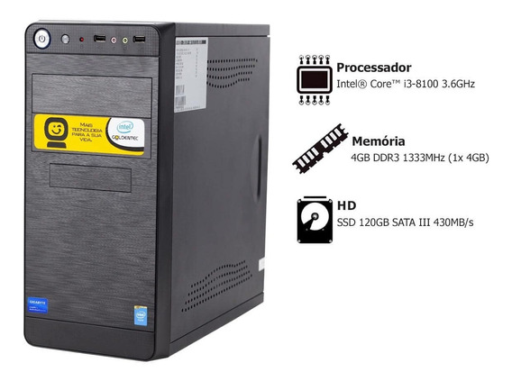 Pc Goldentec Intel Core I3 8100 4gb Ssd 120gb